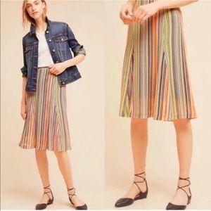 Anthropologie Maeve Spectral Stripe Neon Skirt